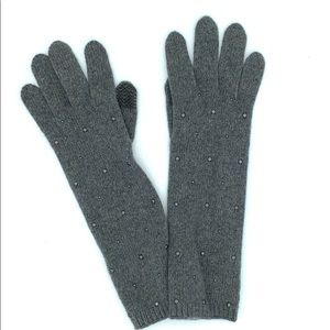 NWOT Portolano Long Studded Cashmere Tech Gloves